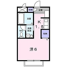 東武越生線 川角駅 徒歩6分の賃貸アパート 1階1Kの間取り