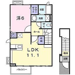 JR両毛線 岩宿駅 徒歩10分の賃貸アパート 2階1LDKの間取り