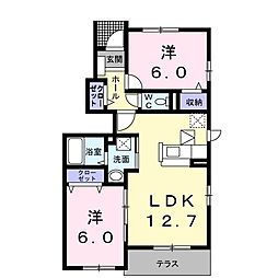 名鉄名古屋本線 国府駅 徒歩7分の賃貸アパート 1階2LDKの間取り