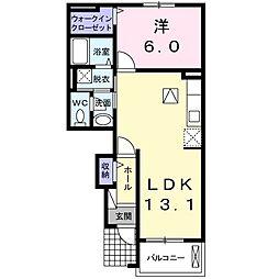 JR総武本線 佐倉駅 徒歩15分の賃貸アパート 1階1LDKの間取り