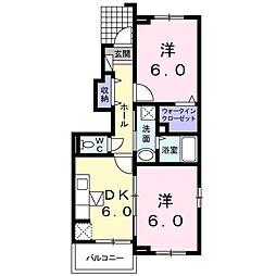 JR飯田線 下地駅 徒歩19分の賃貸アパート 1階2DKの間取り