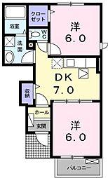 京成本線 京成成田駅 バス12分 新木戸下車 徒歩5分の賃貸アパート 1階2DKの間取り