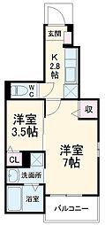 上毛電気鉄道 中央前橋駅 徒歩15分の賃貸アパート 1階1SKの間取り