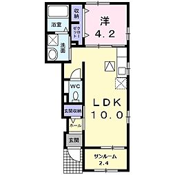 東武小泉線 成島駅 徒歩17分の賃貸アパート 1階1LDKの間取り