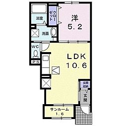 JR成田線 下総橘駅 バス22分 石塚十字路下車 徒歩8分の賃貸アパート 1階1LDKの間取り