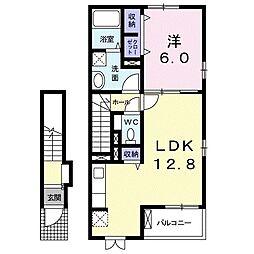 JR東北本線 東大宮駅 徒歩22分の賃貸アパート 2階1LDKの間取り