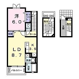 JR東北本線 宇都宮駅 バス10分 竹林保育園入口下車 徒歩2分の賃貸アパート 3階1LDKの間取り