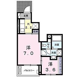 東武伊勢崎線 春日部駅 徒歩13分の賃貸アパート 1階1SKの間取り