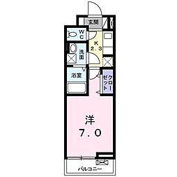 JR東北本線 宇都宮駅 バス18分 工業団地南下車 徒歩3分の賃貸アパート 3階1Kの間取り