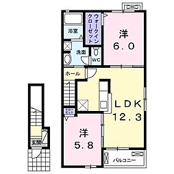 JR常磐線 佐和駅 徒歩27分の賃貸アパート 2階2LDKの間取り