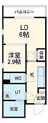 名古屋市営東山線 中村日赤駅 徒歩6分の賃貸マンション 4階2Kの間取り