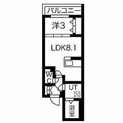 名古屋市営東山線 中村日赤駅 徒歩6分の賃貸マンション 4階1LDKの間取り