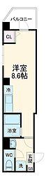 NY Square Funabashi 2階ワンルームの間取り