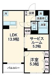 Adi I 2階1SLDKの間取り