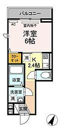 Chou Chou 2階1Kの間取り