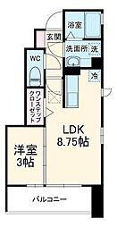 サンライトレジデンスIII 1階1LDKの間取り
