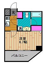 GENOVIA綾瀬skygarden 14階1Kの間取り
