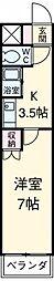 アイルーム豊田永覚I 2階1Kの間取り