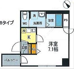 JR山手線 西日暮里駅 徒歩12分の賃貸マンション 7階1Kの間取り