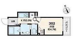 日暮里舎人ライナー 熊野前駅 徒歩4分の賃貸アパート 3階1Kの間取り