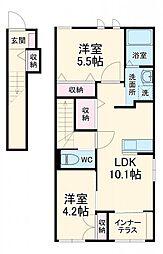 JR総武本線 八街駅 徒歩16分の賃貸アパート 2階2LDKの間取り