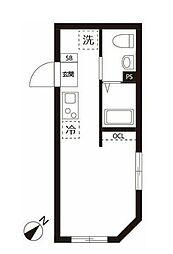 東急目黒線 不動前駅 徒歩7分の賃貸マンション 3階ワンルームの間取り