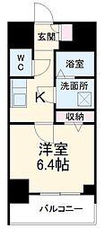 名古屋市営桜通線 中村区役所駅 徒歩9分の賃貸マンション 11階1Kの間取り