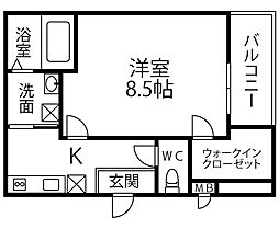 仮称 フジパレス千代田5丁目 1階1Kの間取り