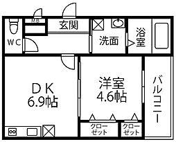 仮称 フジパレス千代田5丁目 1階1DKの間取り