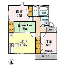 クレア・ド・ルーン 1階3LDKの間取り