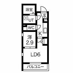 名古屋市営東山線 中村日赤駅 徒歩6分の賃貸マンション 3階2Kの間取り