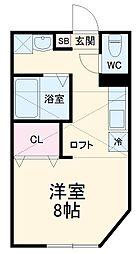 EXCELLENT 2階ワンルームの間取り