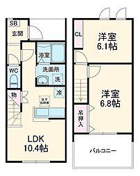 JR両毛線 国定駅 4.5kmの賃貸アパート 1階2LDKの間取り