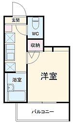 MELDIA中野島 4階1Kの間取り