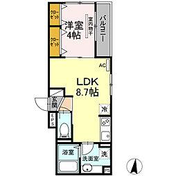ルミエール 2階1LDKの間取り
