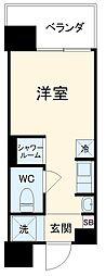 Hana House-Maezima 3階ワンルームの間取り
