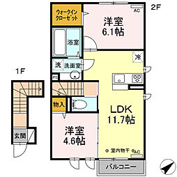 (仮)D-room山川町 III期 2階2LDKの間取り