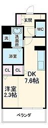名古屋市営東山線 中村日赤駅 徒歩9分の賃貸マンション 2階1DKの間取り
