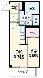 名古屋市営東山線 中村日赤駅 徒歩9分の賃貸マンション 3階1DKの間取り