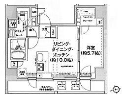 エルフォルテ五反田 14階1LDKの間取り