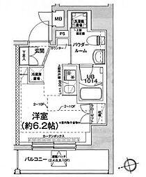 エルフォルテ五反田 9階ワンルームの間取り