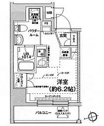 都営浅草線 戸越駅 徒歩6分の賃貸マンション 10階ワンルームの間取り