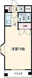 京王相模原線 京王多摩センター駅 徒歩9分の賃貸マンション 1階ワンルームの間取り