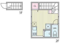 プレジ桜新町 2階ワンルームの間取り