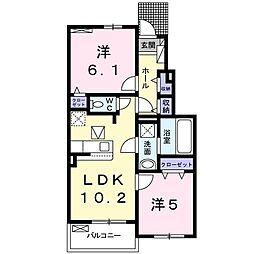JR中央線 高尾駅 バス10分 元八2丁目下車 徒歩4分の賃貸アパート 1階2LDKの間取り