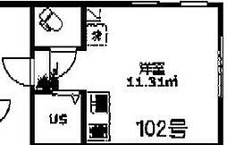 サンマルコパーク 1階ワンルームの間取り