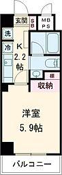 東急池上線 旗の台駅 徒歩1分の賃貸マンション 5階1Kの間取り