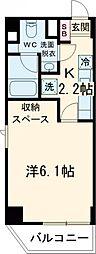 東急池上線 旗の台駅 徒歩1分の賃貸マンション 4階1Kの間取り