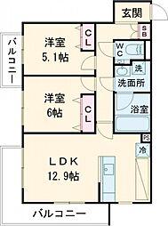 オークラレジデンス武蔵小金井 2階2LDKの間取り