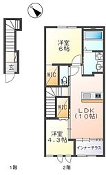 JR常磐線 ひたち野うしく駅 10kmの賃貸アパート 2階2LDKの間取り